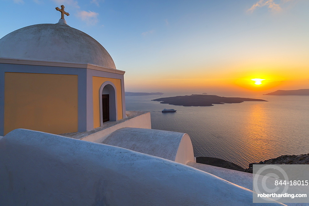 View of Greek Church of Saint Stylianos at sunset, Firostefani, Santorini (Thira), Cyclades Islands, Greek Islands, Greece, Europe