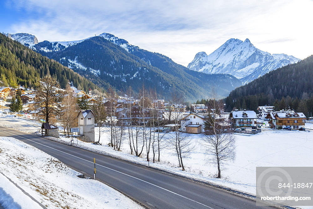 Landscape of Canazei during winter in Italy, Europe