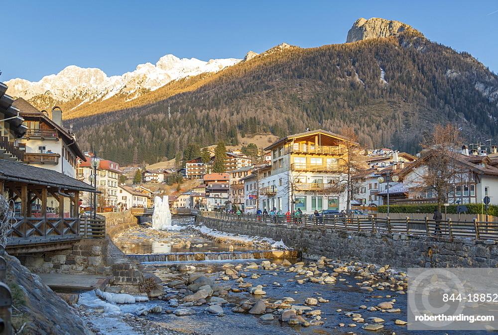 Aviso River through Moena in Italy, Europe