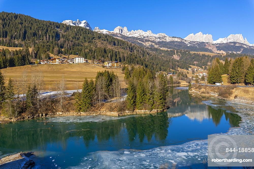 Landscape of Avisio River in Trentino, Italy, Europe