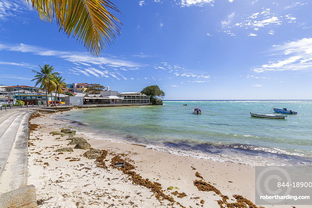 View of beach at St. Lawrence Gap, Barbados, West Indies, Caribbean, Central America