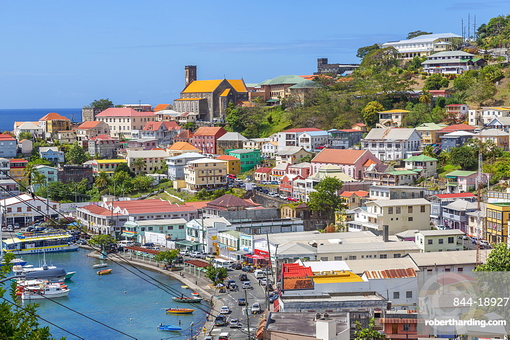 Elevated view of the Carenage of St. George's, Grenada, Windward Islands, West Indies, Caribbean, Central America