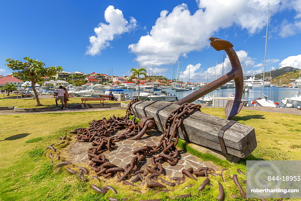 View of symbolic anchor next to the harbour, Gustavia, St. Barthelemy (St. Barts) (St. Barth), West Indies, Caribbean, Central America