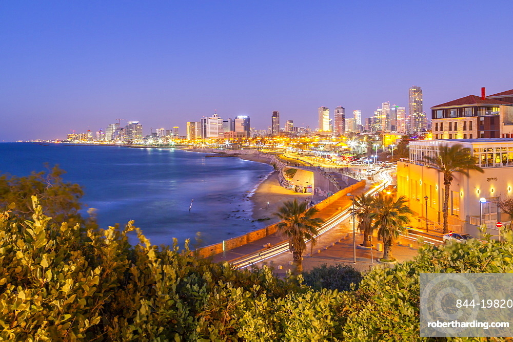 View of Tel Aviv from Jaffa Old Town at dusk, Tel Aviv, Israel, Middle East