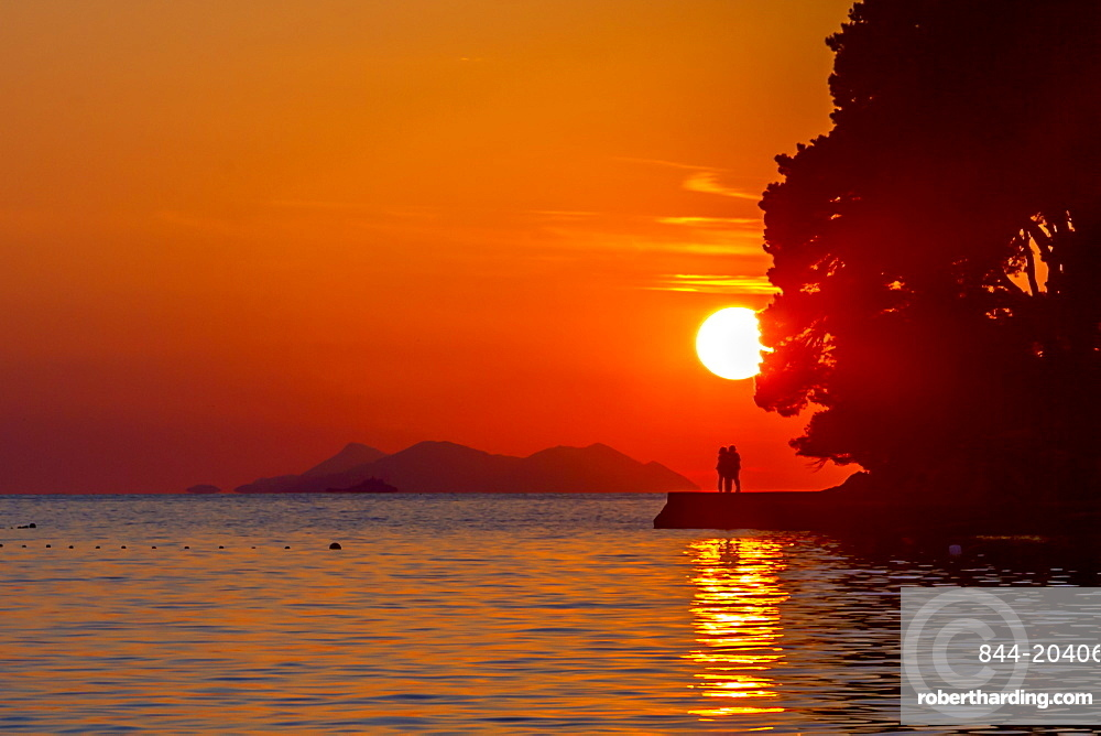 View of sunset in Cavtat on the Adriatic Sea, Cavtat, Dubrovnik Riviera, Croatia, Europe