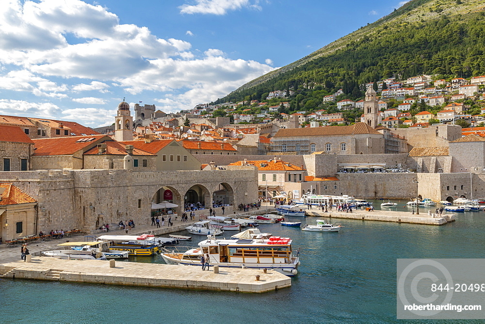 View of boats in harbour of Dubrovnik Old Town from the wall, UNESCO World Heritage Site, Dubrovnik, Dalmatia, Croatia, Europe
