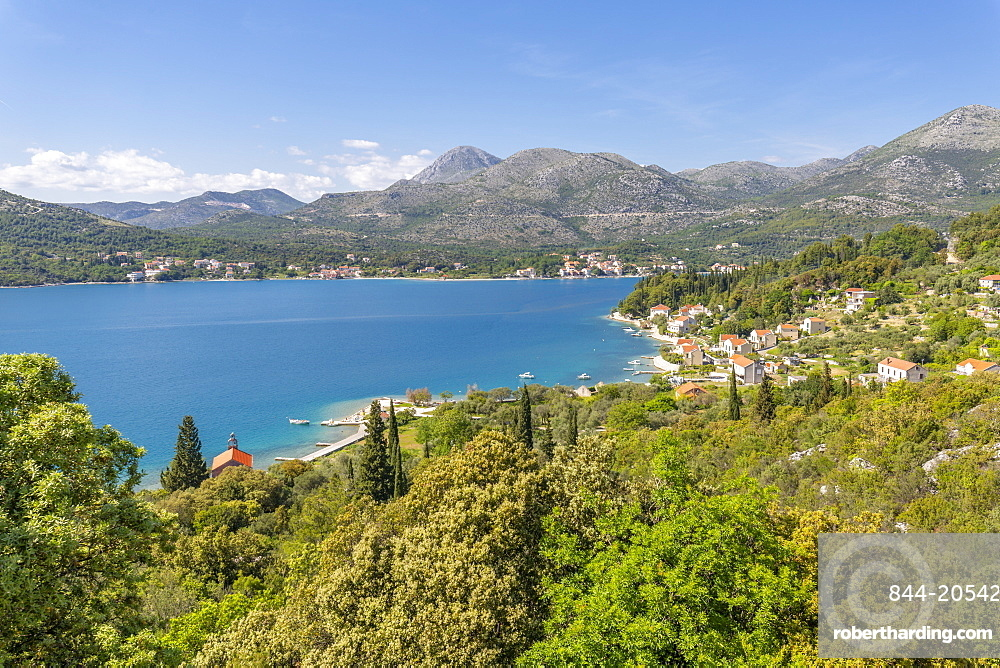 View of Mali Zaton and Adriatic Sea, Dubrovnik Riviera, Croatia, Europe