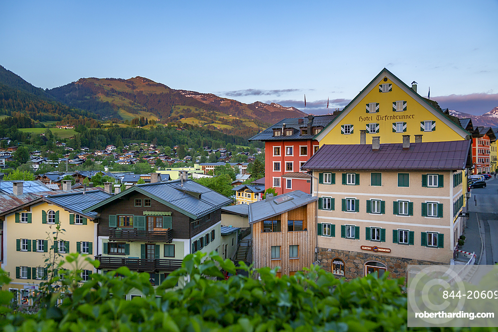 Panoramic view of town and mountains from elevated position, Kitzbuhel, Austrian Tyrol Region, Austria, Europe