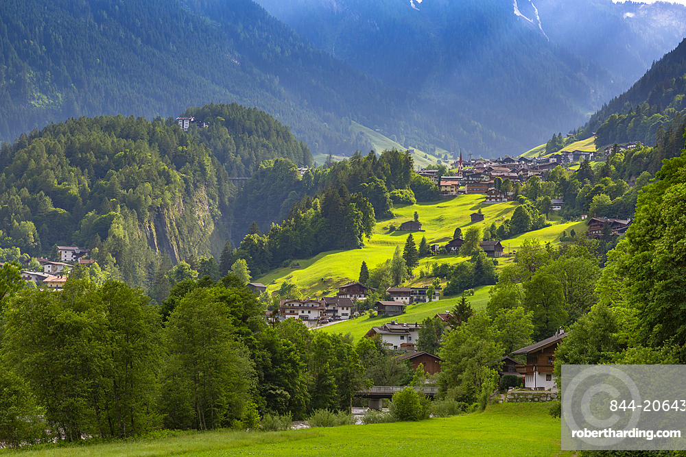 View of Finkenberg and mountains viewed from Mayrhofen, Tyrol, Austria, Europe