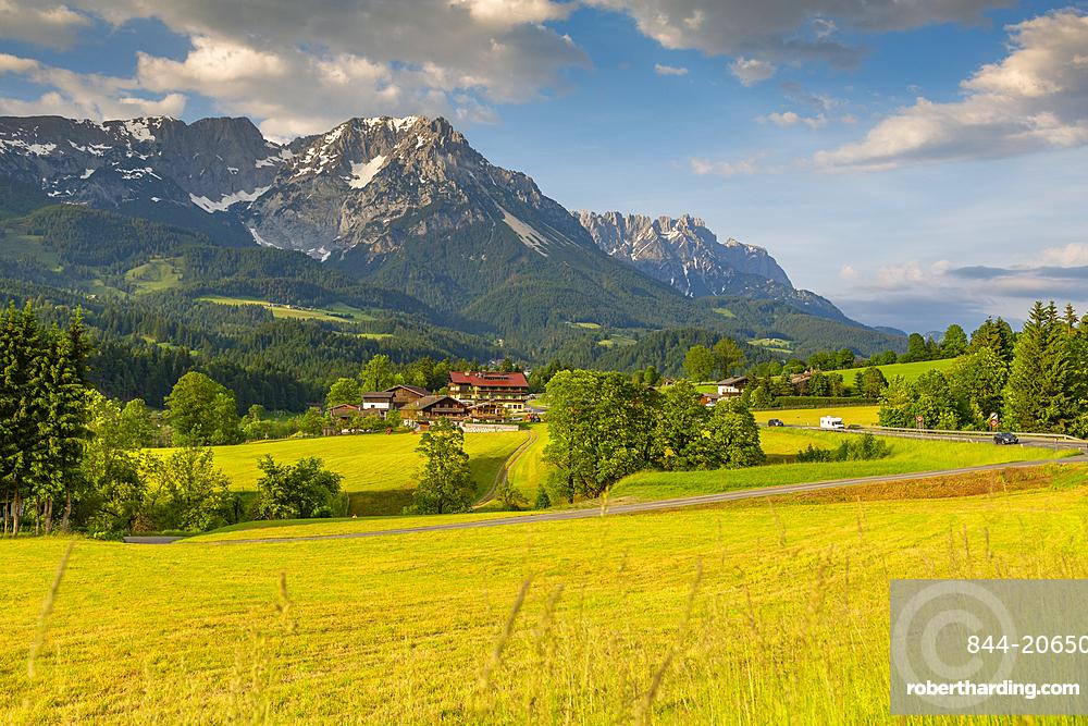 View of mountainous landscape near Worgl, Kufstein district, Tyrol, Austria, Europe