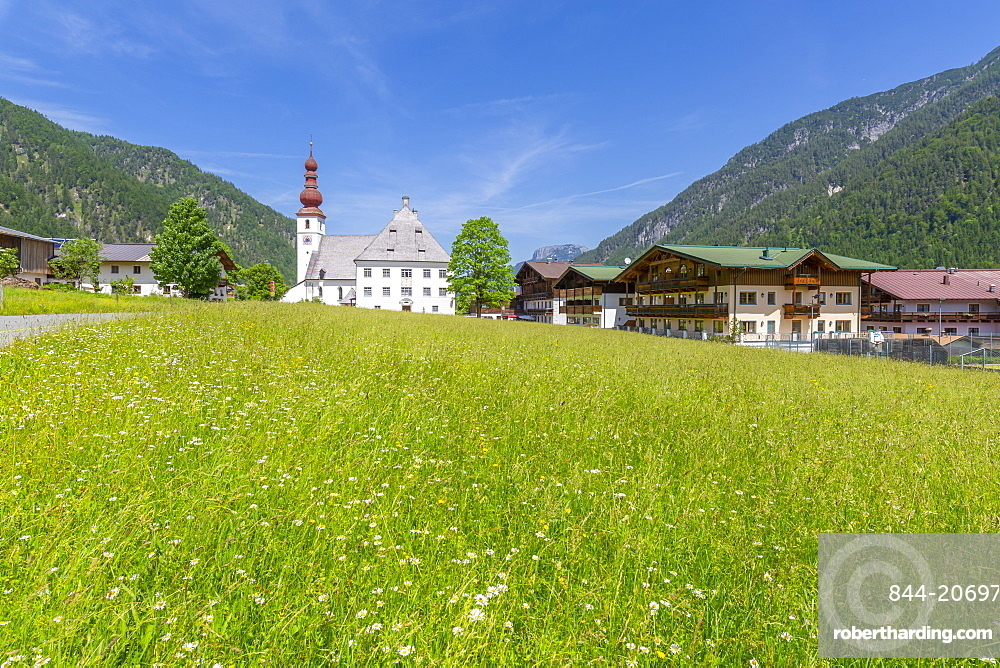 View of church in Ulrich am Pillersee, Austrian Alps, Tyrol, Austria, Europe