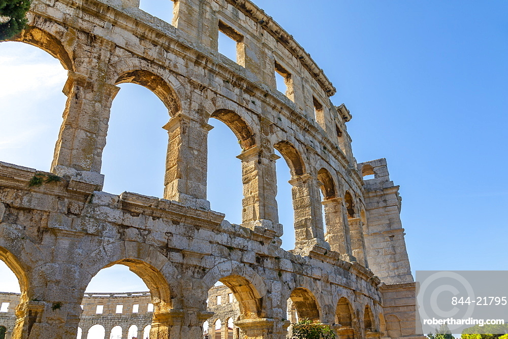 View of the Amphitheatre against blue sky, Pula, Istria County, Croatia, Adriatic, Europe