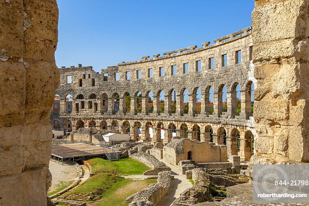 View of the Amphitheatre against blue sky, Pula, Istria County, Croatia, Adriatic, Europe