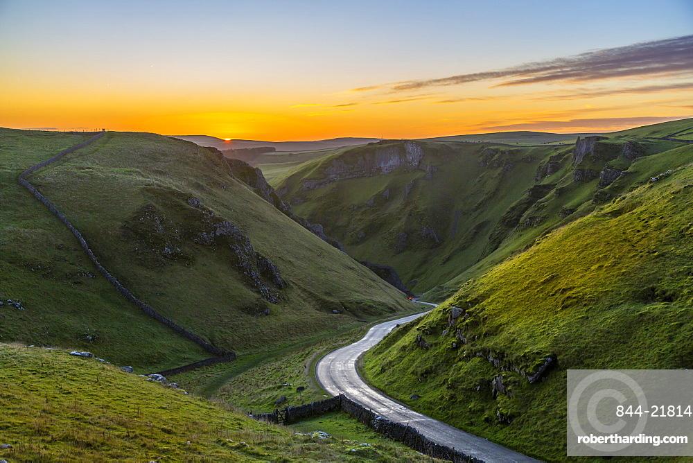 View of Winnats Pass at sunrise, Castleton, Derbyshire, Peak District National Park, England, United Kingdom, Europe