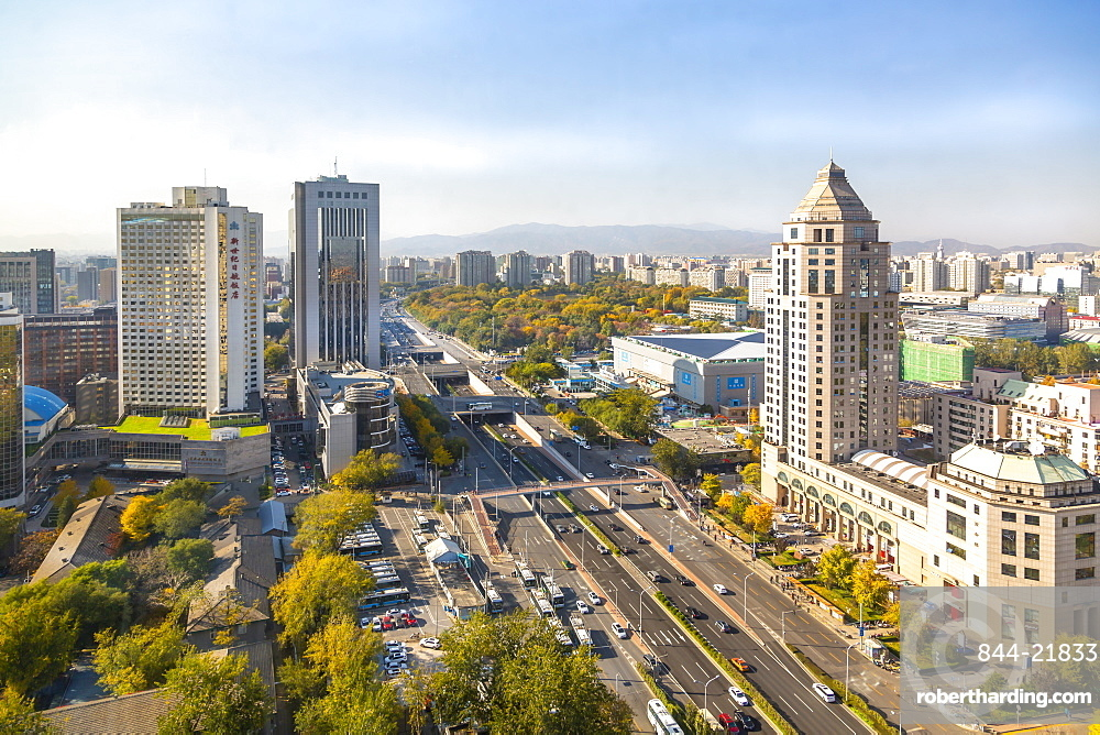 Elevated view of city near Beijing Zoo, Beijing, People's Republic of China, Asia