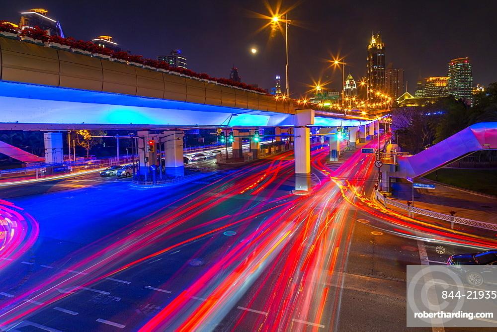 Luban Road Motorway Interchange at night, Luwan, Shanghai, China, Asia