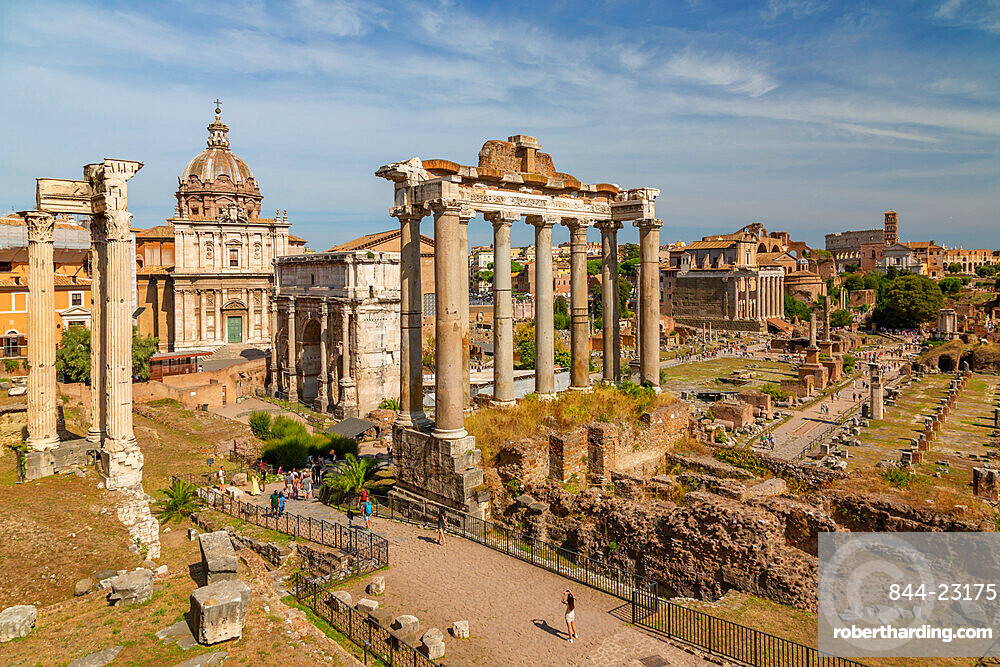 View of Roman Forum (Foro Romano), Temple of Saturn and Arch of Septimius Severus, UNESCO World Heritage Site, Rome, Lazio, Italy, Europe