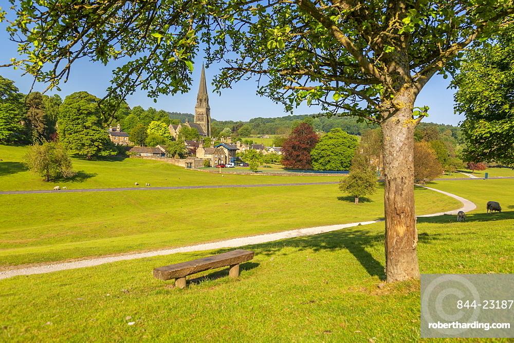 View of Edensor Village in Chatsworth Park, Derbyshire Dales, Derbyshire, England, United Kingdom, Europe
