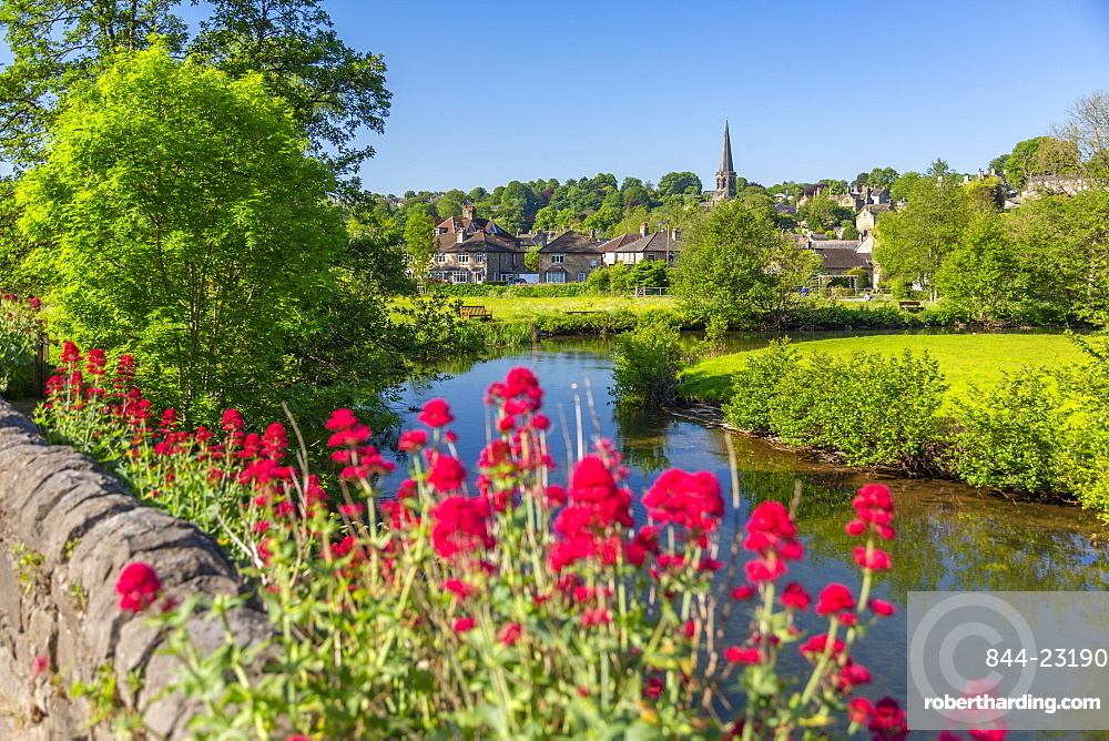 View of River Wye and Bakewell Church, Bakewell, Derbyshire Dales, Derbyshire, England, United Kingdom, Europe