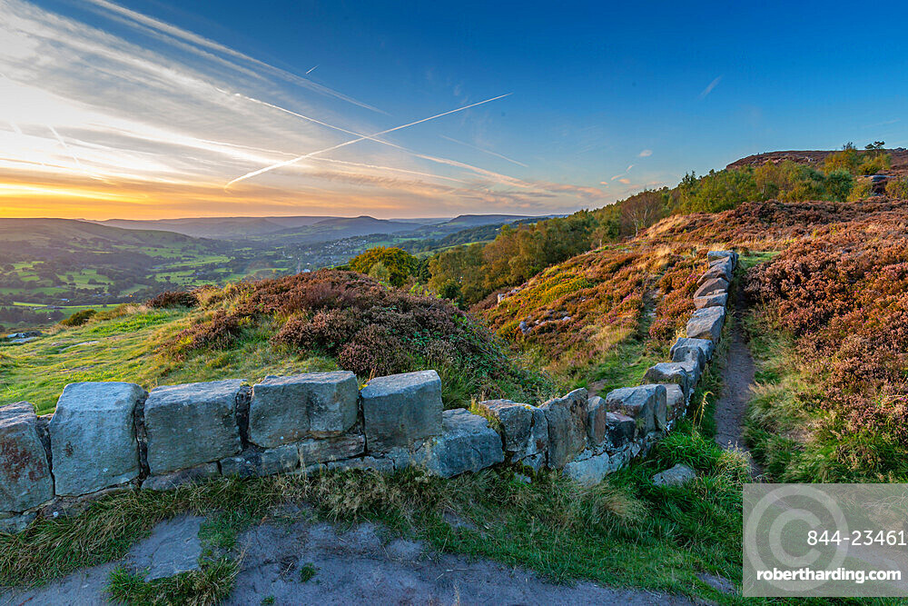 View of over Hathersage Booths from Surprise View at sunset, Millstone Edge, Derbyshire Peak District, England, United Kingdom, Europe
