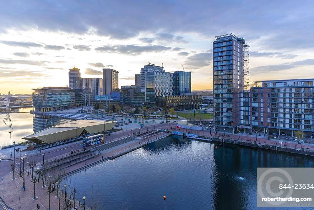 View of MediaCity UK at sunset, Salford Quays, Manchester, England, United Kingdom, Europe