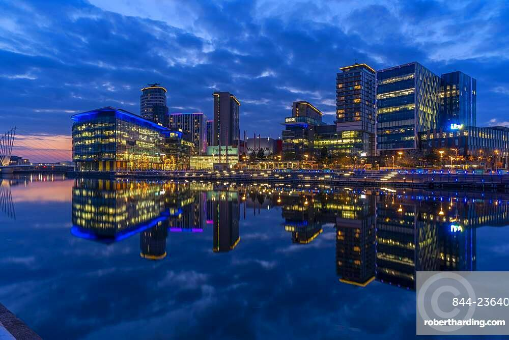View of MediaCity UK at dusk, Salford Quays, Manchester, England, United Kingdom, Europe