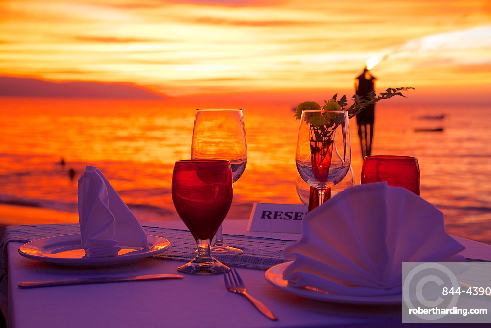 Dinner on the beach in Downtown at sunset, Puerto Vallarta, Jalisco, Mexico, North America