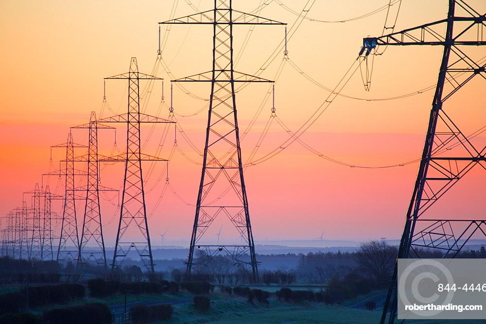 Electricity pylons at daybreak, Derbyshire/Nottinghamshire border, England, United Kingdom, Europe