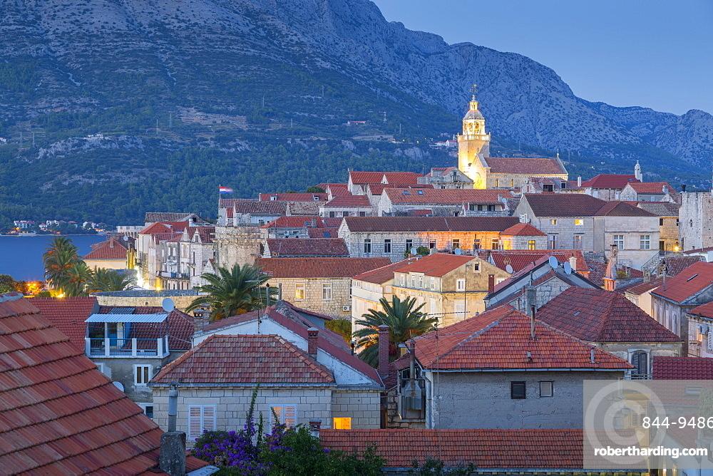View of Korcula Town at dusk, Korcula, Dalmatia, Croatia, Europe