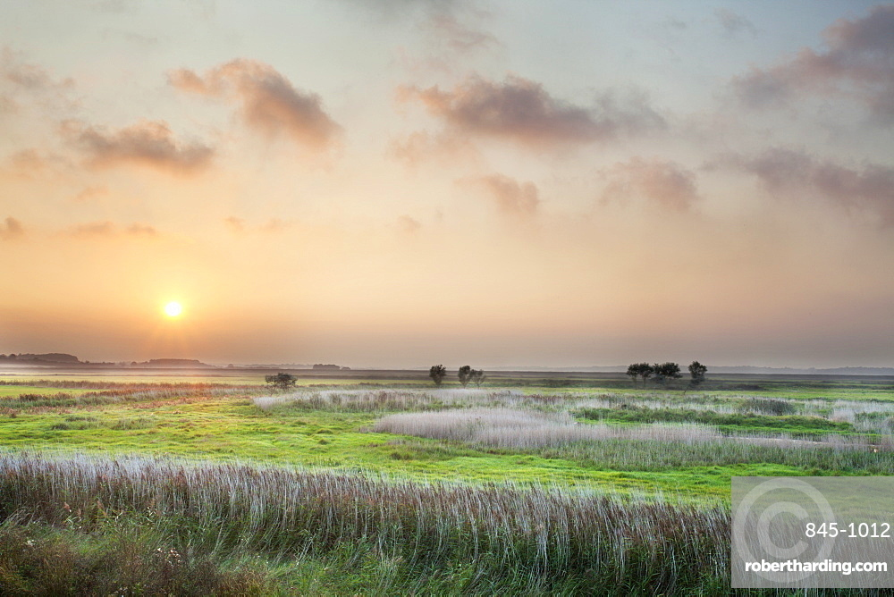 Sunset over the Marshes at Aldeburgh, Suffolk, England, United Kingdom, Europe