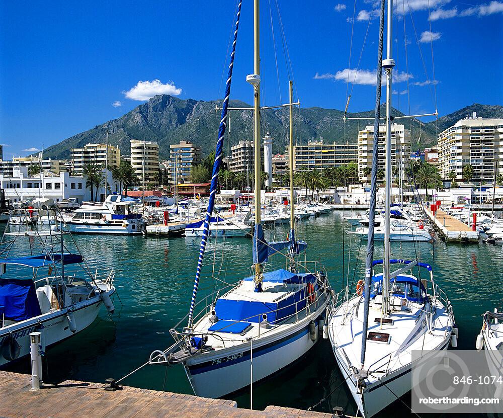 View across marina, Marbella, Andalucia, Costa del Sol, Spain, Europe