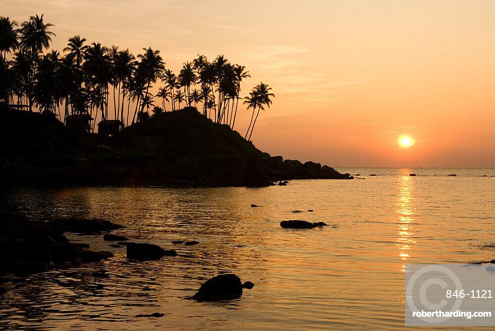 Sunset over Colomb Beach, Palolem, Goa, India, Asia
