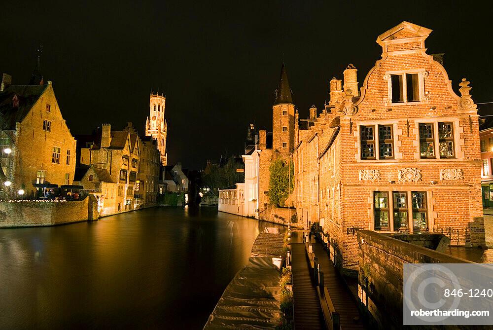 Rozenhoedkaai (Rosary Quay) and the Belfry at night, Bruges, UNESCO World Heritage Site, West Vlaanderen (Flanders), Belgium, Europe