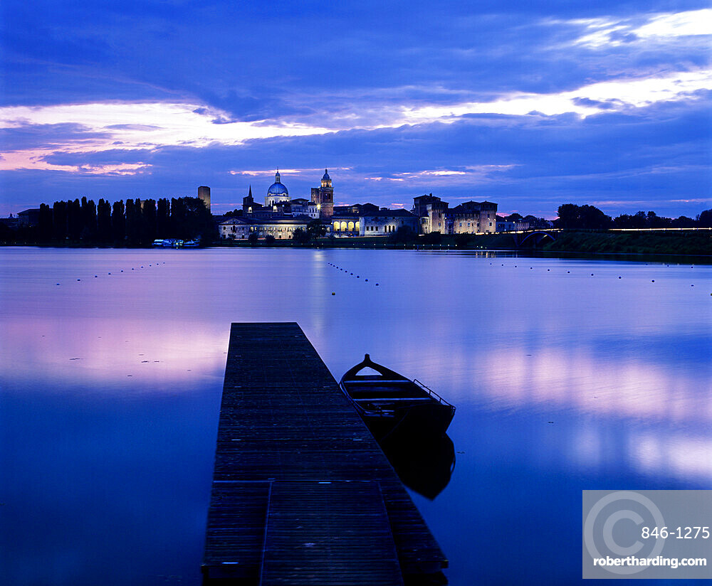 Dusk over the old town and Lake Inferiore, Mantua, Lombardy, Italy, Europe
