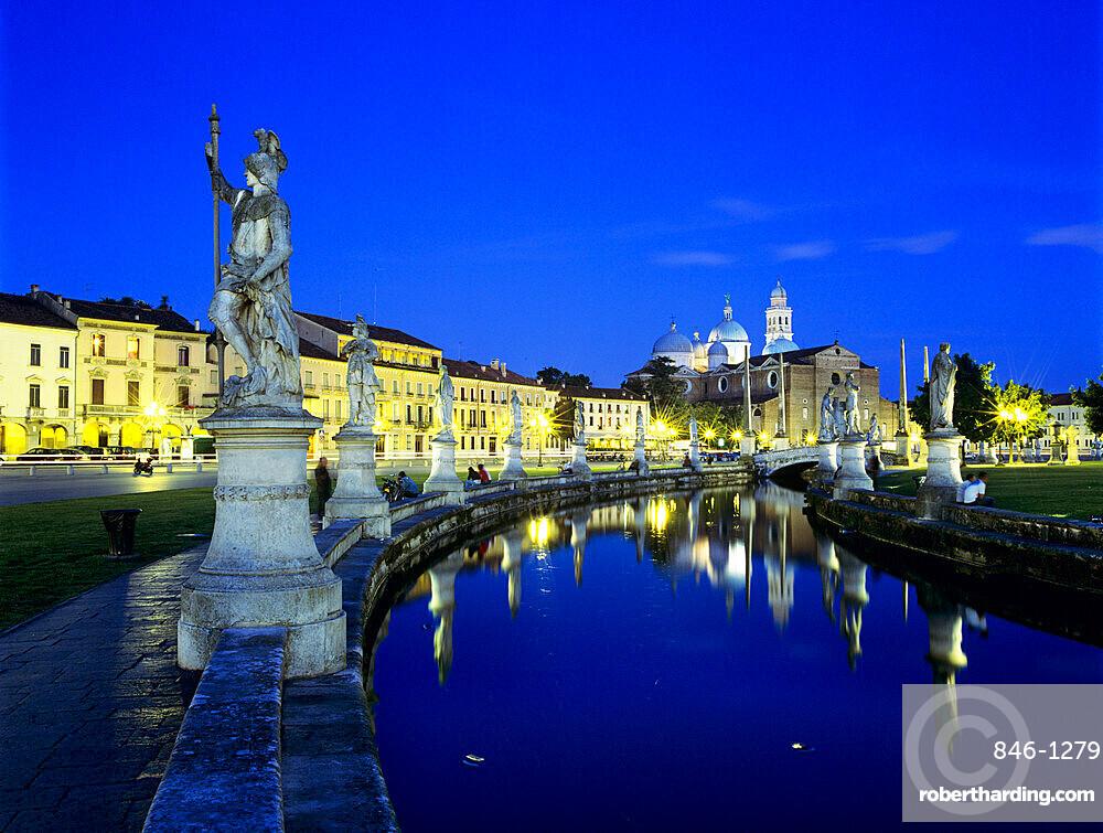 Prato della Valle and Santa Giustina at night, Padua, Veneto, Italy, Europe