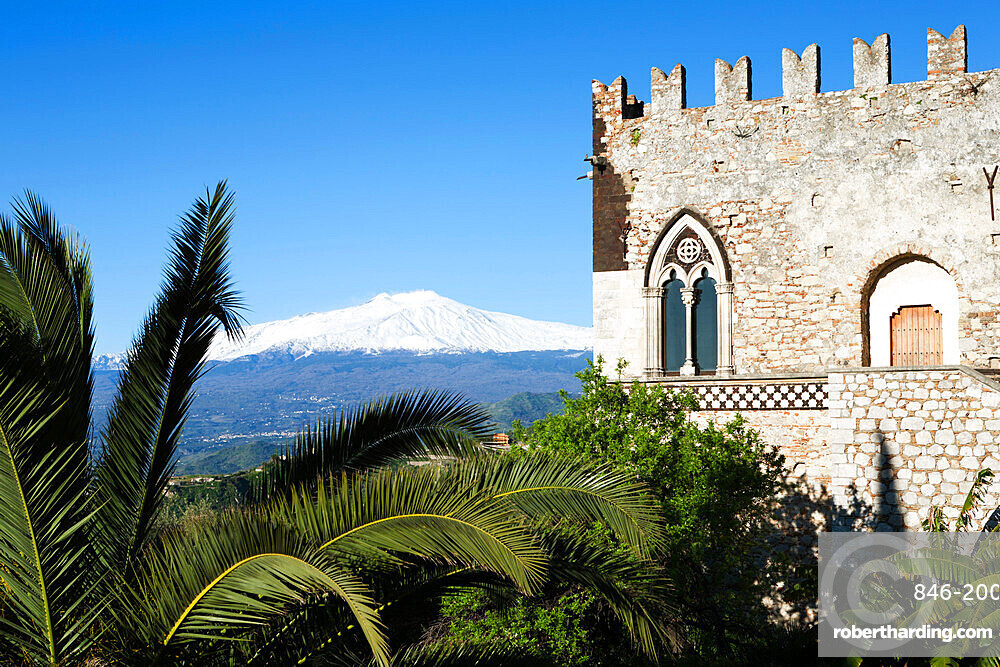 View to Mount Etna, Taormina, Sicily, Italy, Europe