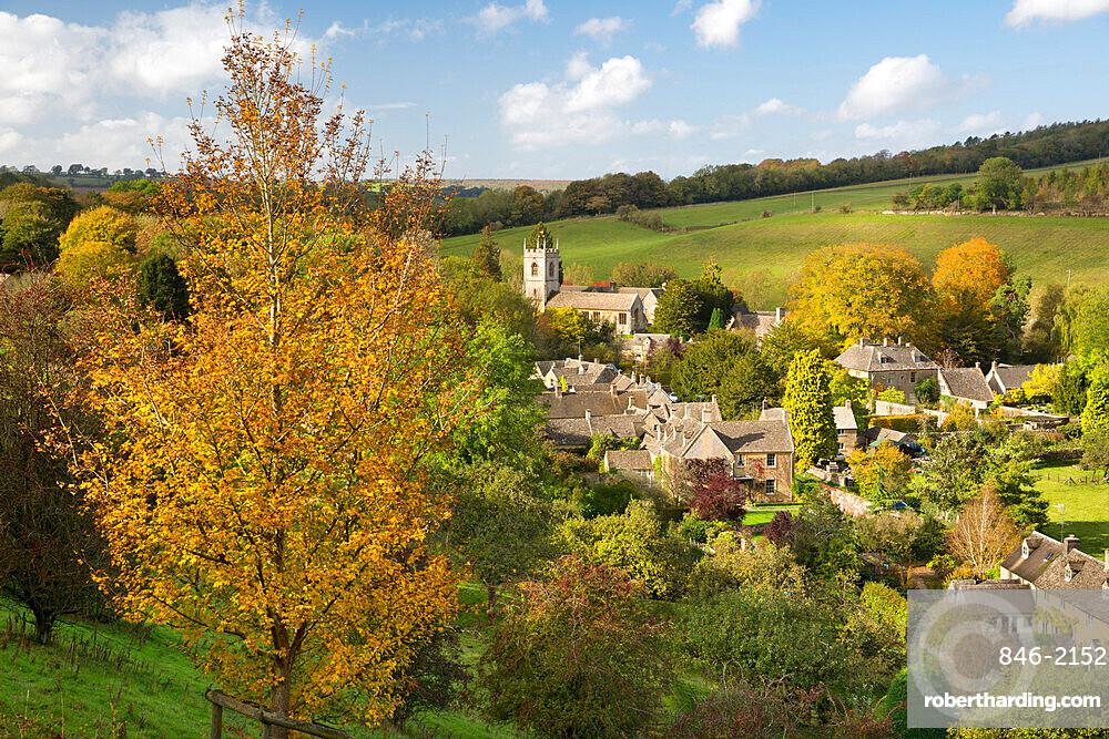 Village in autumn, Naunton, Cotswolds, Gloucestershire, England, United Kingdom, Europe