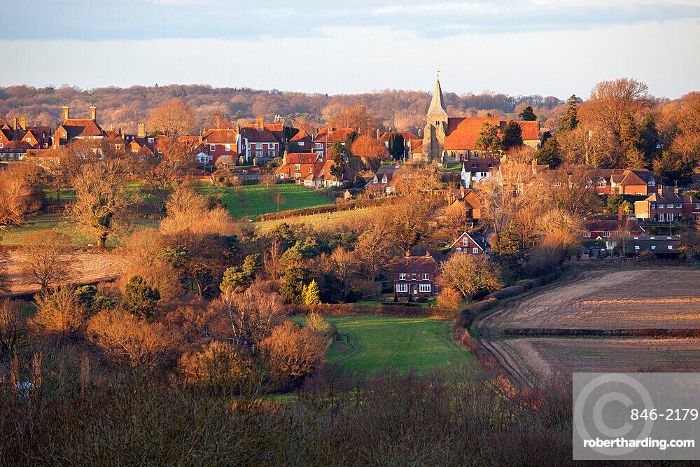 View over village, Burwash, East Sussex, England, United Kingdom, Europe