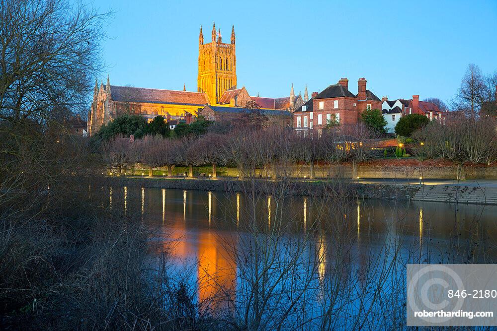 Worcester Cathedral on the River Severn floodlit at dusk, Worcester, Worcestershire, England, United Kingdom, Europe