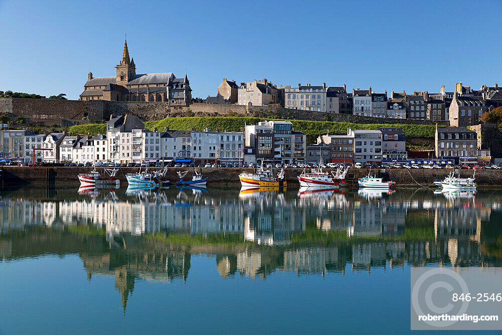 Harbour and upper town, Granville, Normandy, France, Europe