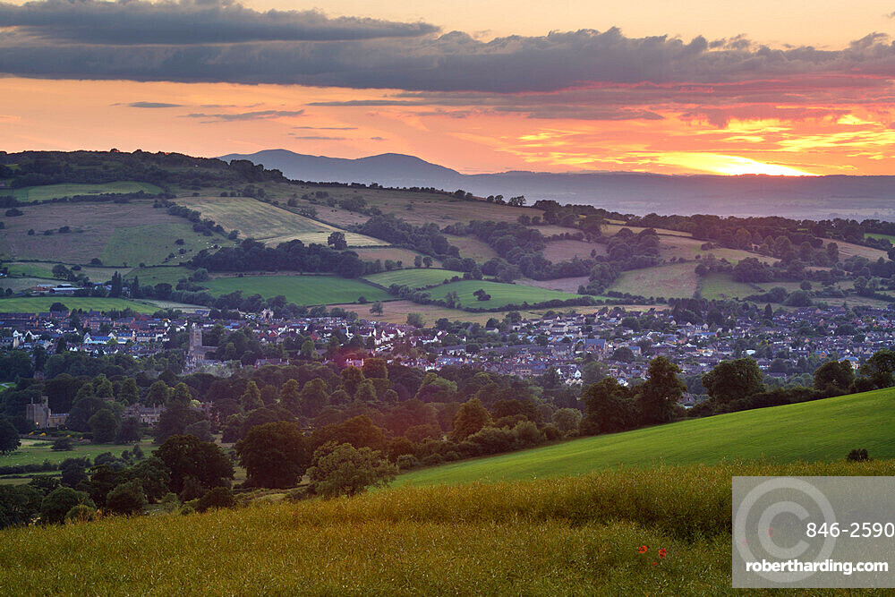 Sunset over Winchcombe and Malvern Hills in distance, Winchcombe, Cotswolds, Gloucestershire, England, United Kingdom, Europe