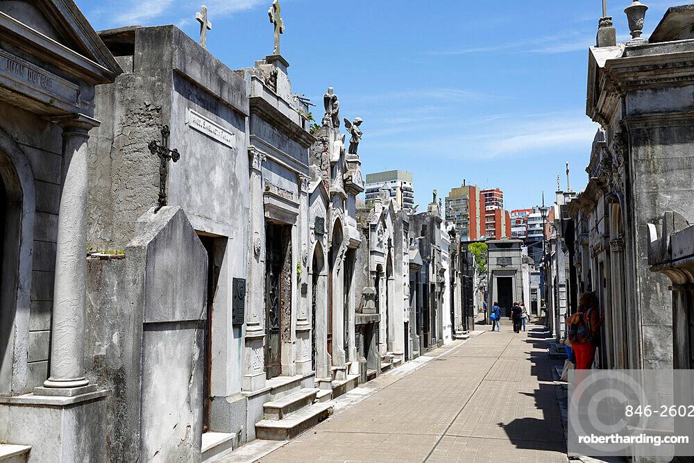 Family mausoleums in the Cementerio de la Recoleta, Buenos Aires, Argentina, South America