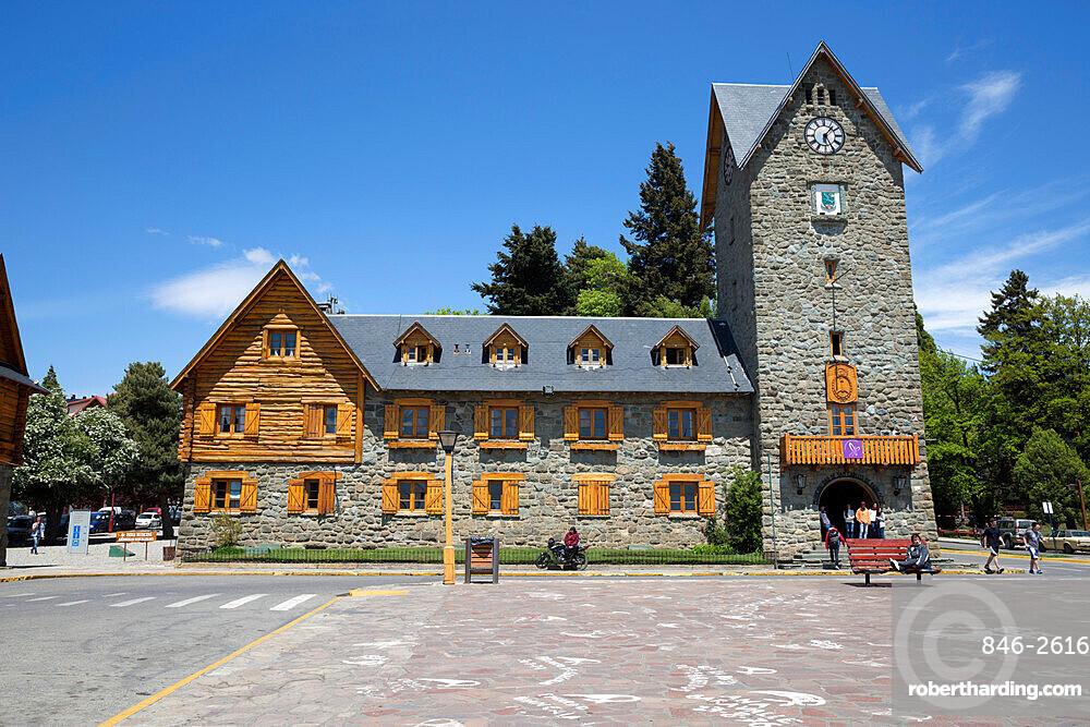 Bariloche Alpine style Centro Civico building, Bariloche, Nahuel Huapi National Park, The Lake District, Argentina, South America