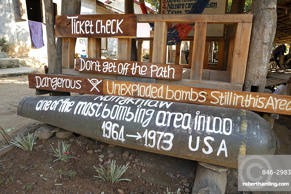 Casing of American cluster bomb, Nong Khiaw, Muang Ngoi District, Luang Prabang Province, Northern Laos, Laos, Indochina, Southeast Asia, Asia