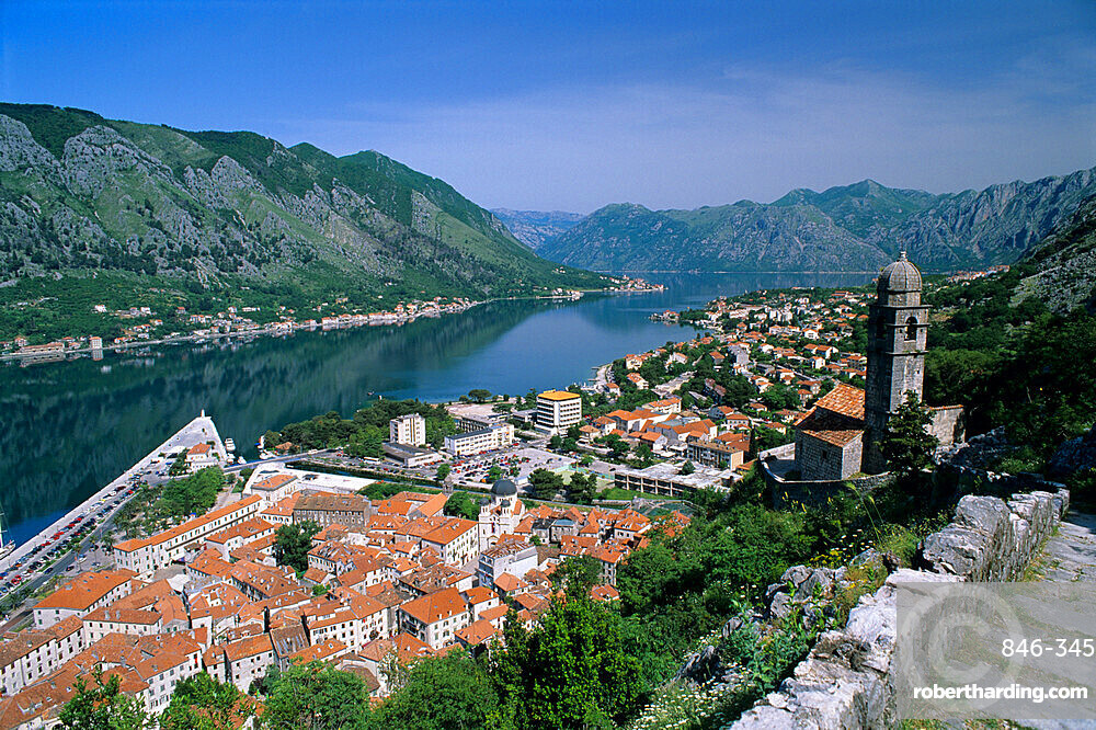 View over old town and bay from fortress of St. Ivan, Kotor, UNESCO World Heritage Site, The Boka Kotorska (Bay of Kotor), Montenegro, Europe