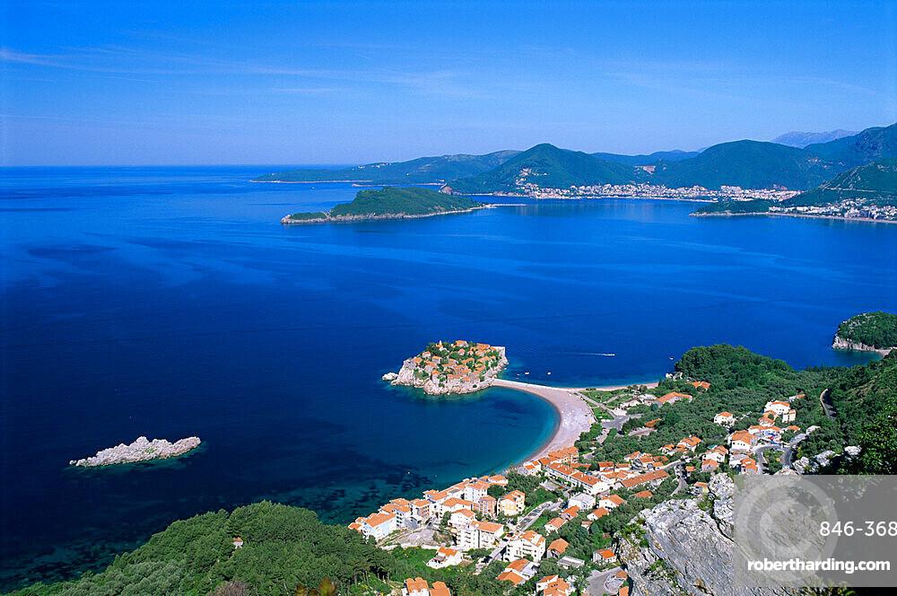 View over bay, Sveti Stefan, The Budva Riviera, Montenegro, Europe