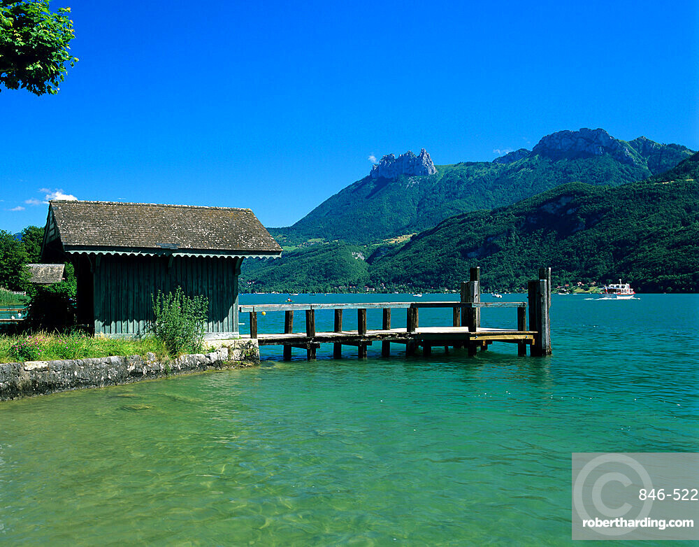 Pier on lake, Duingt, Lake Annecy, Rhone Alpes, France, Europe