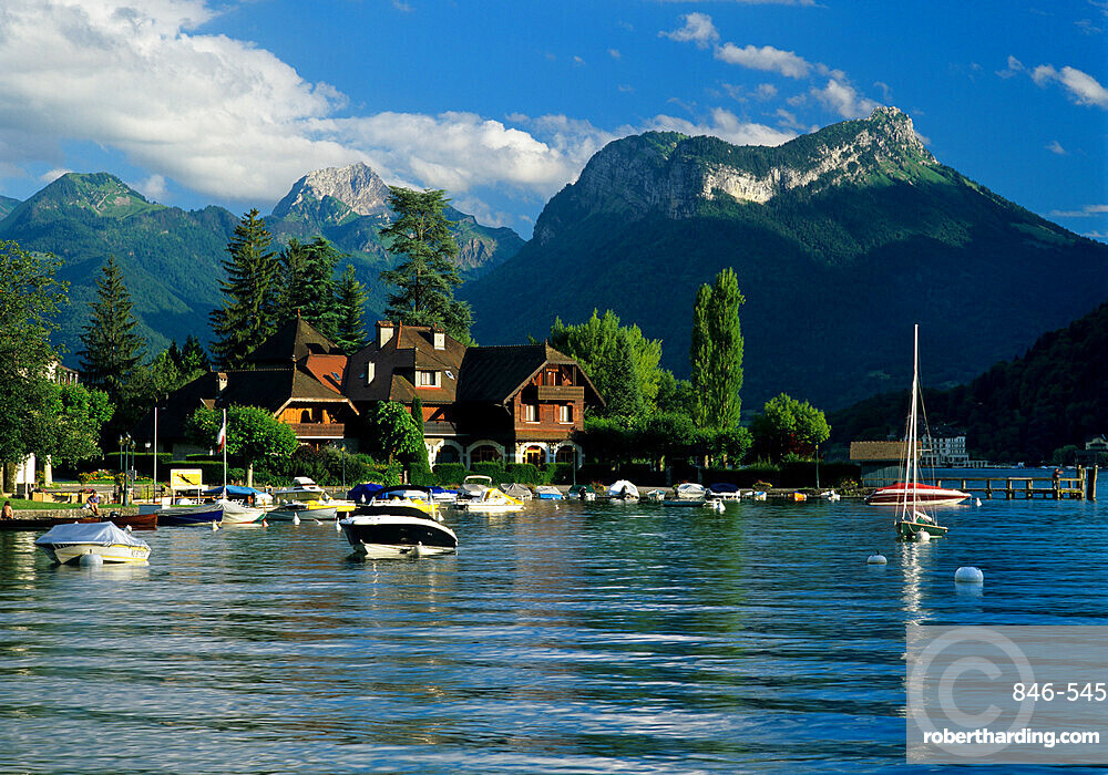 Harbour and Auberge Pere Bis, Talloires, Lake Annecy, Rhone Alpes, France, Europe