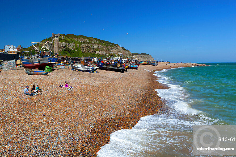 View over the Stade and East Hill, Hastings, East Sussex, England, United Kingdom, Europe