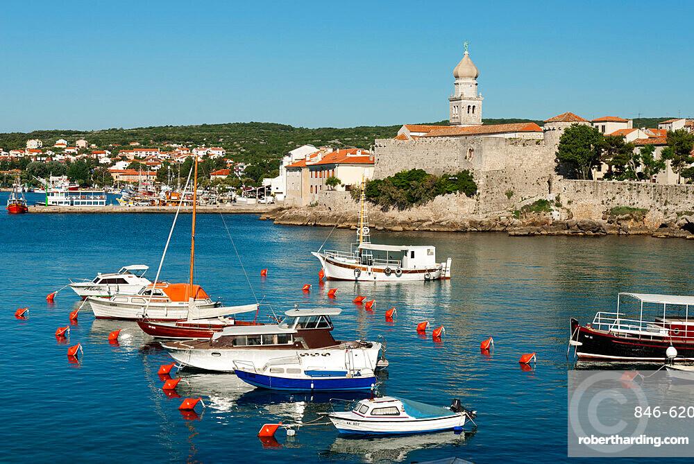 View over harbour and town, Krk Town, Krk Island, Kvarner Gulf, Croatia, Adriatic, Europe